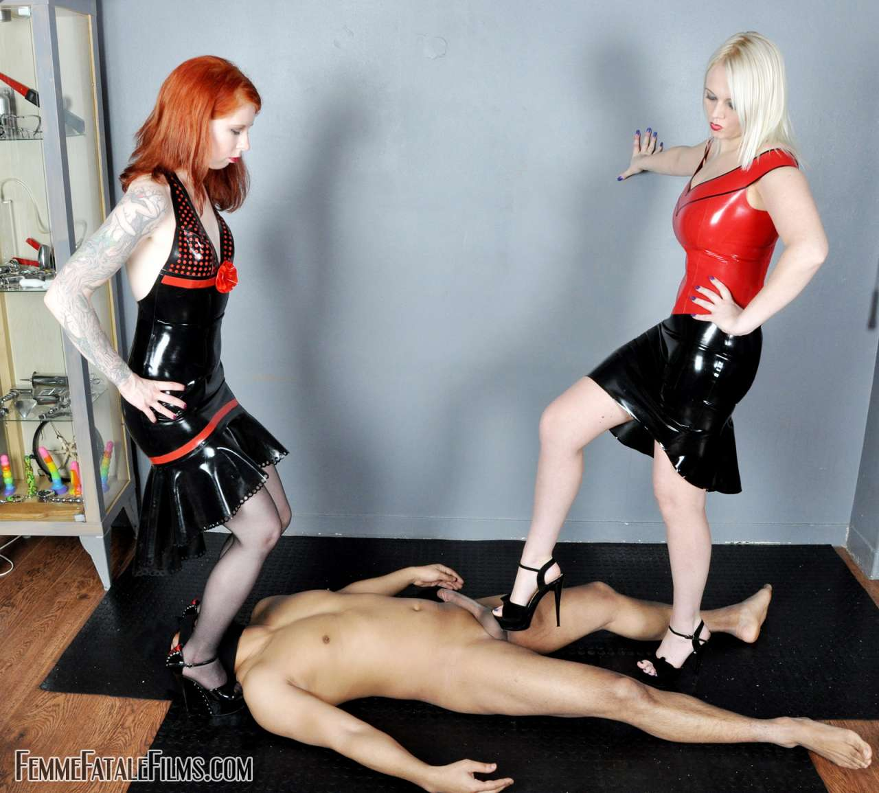 Picture #3 of Sexy fetish mates are stomping penis with high heel shoes getting slave ready for full-force balls kicking