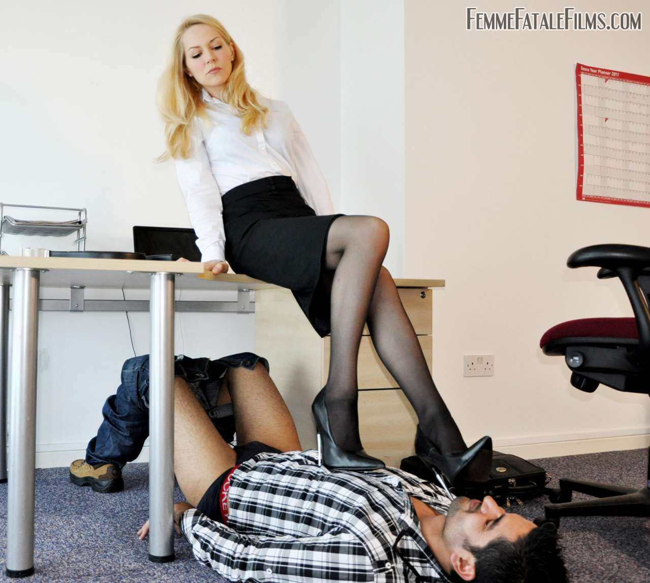 Picture #5 of Computer guy is punished for looking sexy boss under the skirt: he is trampled, smothered and crushed in between sexy legs