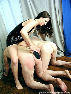 It is OK for an experienced woman to spank two slaves at once: keeping them naked, on all fours and spanked nicely