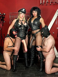 Hardcore femdom action is happening down in the basement where a couple of cruel bitches setup a BDSM chamber to train and torture men in