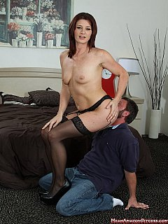 It is nice when mistress is all nude, wearing just black stockings and using male face as a place to sit on
