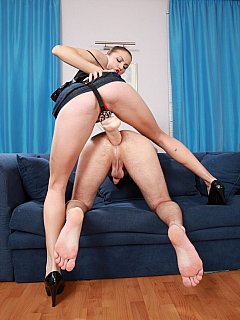 That dildo is way too big for slave ass to go in but mistress pushes in anyway making man to scream loud in pain