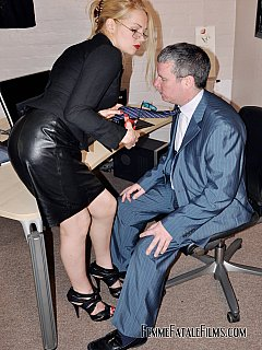 Glamorous secretary is having magic powers over her boss: making a man happy by treating him like a trash