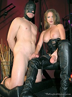 Erotic Goddess got sticky cum on her knee boots after she trained a slave with strap-on toy and made him swallow her spit