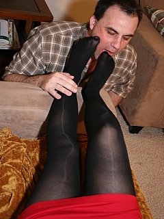 Cuckolding wife can text to her lovers as much as she wants to because submissive hubby is busy worshiping her feet in sheer pantyhose