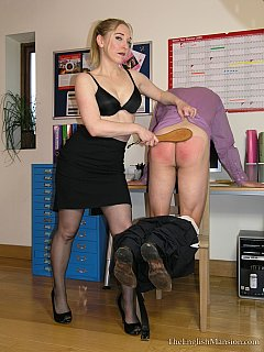 Strict lady is not happy with her accountant. She believes that some ass spanking and paddling will change his attitude.