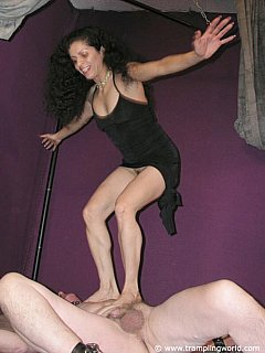 Normal foot domination is not enough for cruel bitch: she trend to jump on the men she is trampling
