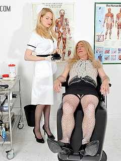 Ugly sissy is there to undergo some medical treatments and examinations as a part of feminization process