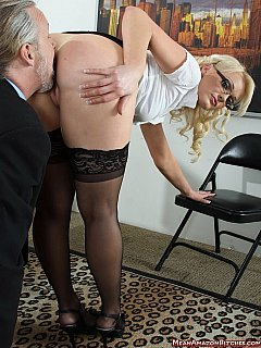 Sexy secretary is always there for her boss when he is in need of kissing an ass or licking a pussy
