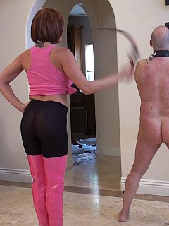 It is fun for MILF wife to have her hubby whipped hard all naked, handcuffed and collared