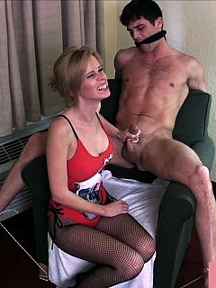 Cock abuse is more enjoyable if the man is all naked, tied to chair and gagged by the dominant girl