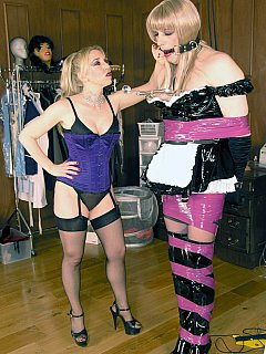 It takes experienced dominatrix just a few minutes to turn a man into maid sissy that is willing greet the party guests all tape-bound