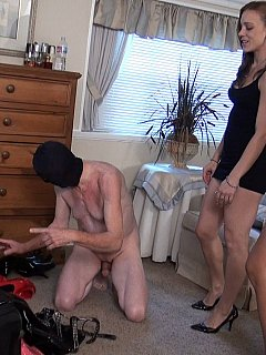 Cuckold is making sure his mistress and her mate are wearing the sluttiest knee-oots before they go on a date with strangers