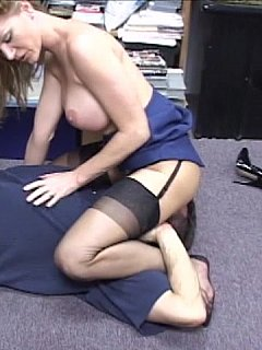 Perverted office slut enjoys cornering men, lifting her skirt and mounting herself on top of their faces