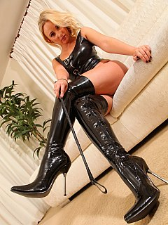 PVC is an alternative to black leather femdom women trend to wear when dealing with naughty men like you