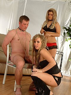 Girlfriends are making first steps into femdom and they are really excited about the fist slave they have to bind and torment