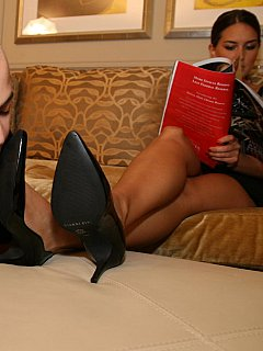 Black mini-dress and high heel pumps turn leggy girl into an ultimate foot Goddess slave cannot stop worshiping