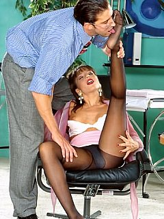 Asian secretary is enjoying the rople of foot mistress whn she turns her boss into foot slave