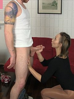 Girl with pigtails is not very nice when it comes to stroking cocks and handling balls. It looks more like a punishment when she does the thing