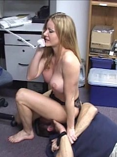 He is not a boss anymore because busty secretary forced him in bondage and using his face as sitting space