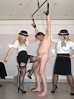 Breaking a sissy during the interrogation is easy: sexy police officers just has to kick him a few times in his balls