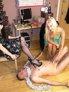 Office girls are celebrating New Year by turning their boss into miserable sissy slave
