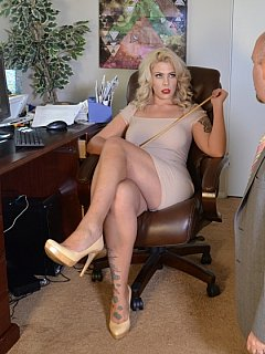 Dominatrix spanks the boss - glamorous blond is in the office to subject bald man to spanking and canning
