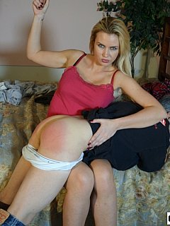 Pervert is setting up bedroom for spanking for hot blond bimbo to punish him over the knee