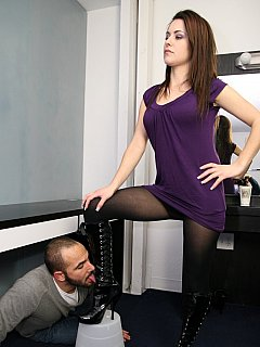 Sexy high heel boots must be polished by slave before mistress goes on a cuckolding date