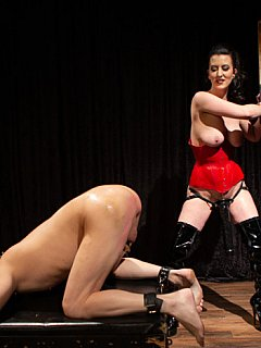 Miserable loser starts moaning when dominatrix treats him with bondage, clothes pegs and strap-on cock