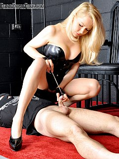Glamorous blond is beating man up and then uses him for high heel trampling