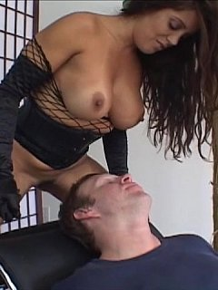 Experienced MILF making sure the man is tied and gagged before using her boobs for smothering